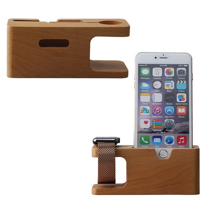 Charging Dock Wood Holder for APPLE Watch, IPHONE - WoodWearable Device Accessories<br>Form ColorWoodQuantity1 DX.PCM.Model.AttributeModel.UnitMaterialWoodenPacking List1 x Phone holder<br>
