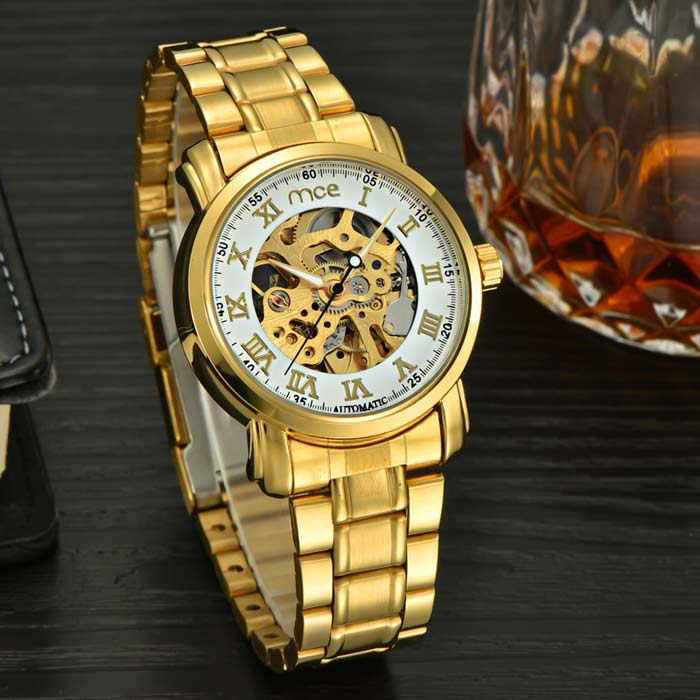 Men's Auto Mechanical Hollowed Engraving Dial Watch - Golden + White