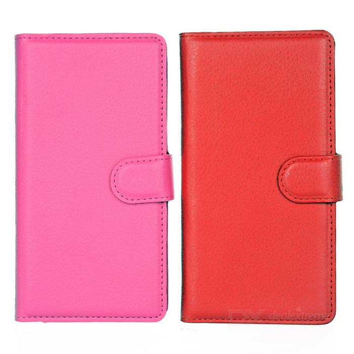 Lichee Pattern Case w/ Stand for Sony M4 AQUA - Red + Deep Pink (2PCS)