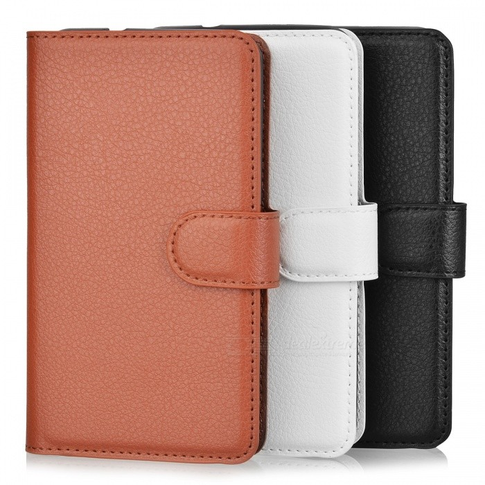 PU Case w/ Card Slots for Xperia E4G - Brown + White + Black (3PCS)Leather Cases<br>Form ColorBrown + White + BlackModelN/AMaterialPUQuantity1 DX.PCM.Model.AttributeModel.UnitShade Of ColorWhiteCompatible ModelsSony Xperia E4GPacking List1 x White case1 x Black case1 x Brown case<br>