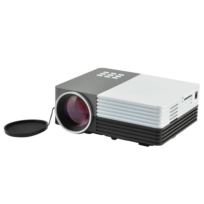 1080P HD Home Theater Mini LED Projector - White + Grey (EU Plug)Projectors<br>Form ColorWhite + Grey + Multi-ColoredQuantity1 DX.PCM.Model.AttributeModel.UnitMaterialABS + electronic componentsShade Of ColorBlackTypeLCDBrightness150 DX.PCM.Model.AttributeModel.UnitMenu LanguageEnglish,French,German,Italian,Spanish,Portuguese,Russian,Chinese SimplifiedBuilt-in SpeakersYesLife Span30000 DX.PCM.Model.AttributeModel.UnitEmitter BINLEDDisplay Size30~120 inchContrast Ratio500:1Maximum Resolution1920 x 1080Throw Distance1.07~3.31mExternal MemorySD card, 32GBAudio FormatsMP3,WMA,Others,M4AVideo FormatsRM,RMVB,DIVX,MOV,FLV,H.264,MPEG1,MPEG2,MPEG4,Others,MJPEG, VC1Picture FormatsJPEG,BMP,PNGInput ConnectorsHDMI / VGA / AV / USB / SD / Micro USBOutput Connectors1 x 3.5mmPower Consumption30WPower Supply12V / 2.5APower AdapterEU PlugOther FeaturesFile format: TXTPacking List1 x Projector1 x Remote control (2 x AAA, not included)1 x EU plug power adapter (100~240V, 140cm cable)1 x 3-in-1 AV cable (15+/-2cm)1 x Chinese / English user manual<br>
