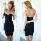 Fashionable Slim Chest Wrapped Sexy Evening Cotton Dress - Black (M)