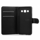 Lichee Pattern Case w/ Stand, Card Slots for Samsung Galaxy A3 - Black