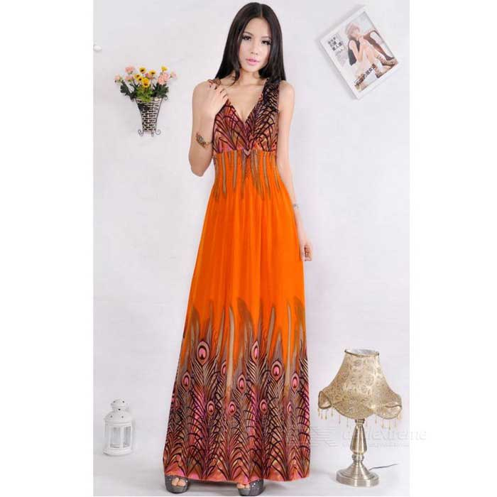 Summer Pea Bohemia Deep V Neck Long Beach Dress Orange