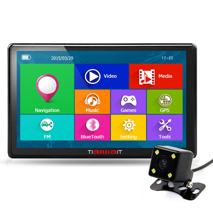 "D100 7"" WinCE 6.0 Car GPS Navigator w/ Bluetooth /8GB / EU Map - Black"