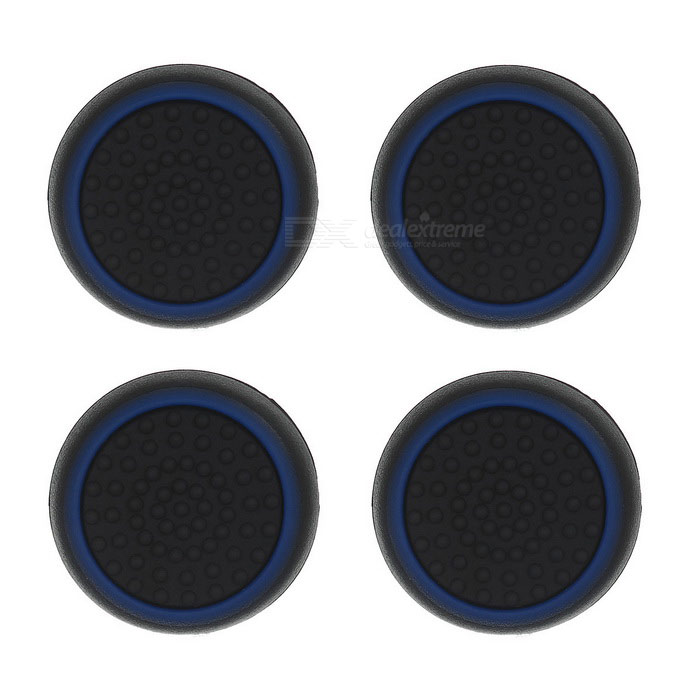 Gamepad Thumb Stick Caps Covers for PS4 &amp; More - Black + Blue (4PCS)Other Accessories<br>Form  ColorBlack + Dark BlueQuantity1 DX.PCM.Model.AttributeModel.UnitMaterialSiliconeShade Of ColorBlackCompatible ModelsPS2,PS3,PS3 Slim,PS4,Others,XBOX One / XBOX 360Packing List4 x Thumb grips<br>