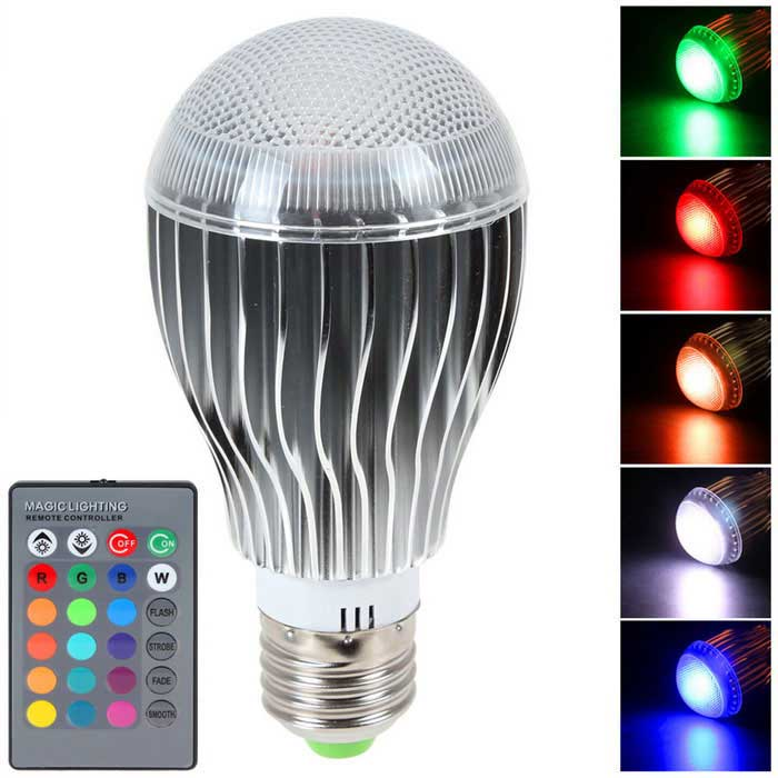 E27 10W Dimmable RGB LED Spotlight w/ Remote - Silver (AC 100-240V)Form  ColorSilver + MulticoloredColor BINRGBMaterialAluminum alloy + PCQuantity1 DX.PCM.Model.AttributeModel.UnitPower10WRated VoltageAC 100-240 DX.PCM.Model.AttributeModel.UnitConnector TypeE27Emitter TypeLEDTotal Emitters1Theoretical Lumens1000 DX.PCM.Model.AttributeModel.UnitActual Lumens600 DX.PCM.Model.AttributeModel.UnitColor Temperature12000K,Others,N/ADimmableYesBeam Angle180 DX.PCM.Model.AttributeModel.UnitPacking List1 x LED light1 x 24-Key controller (1 x CR2025 included)<br>