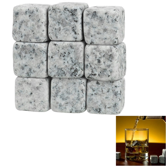 Magic Granite Stone Coolling Ice Blocks for Whisky - White + Multicolor (9 PCS)