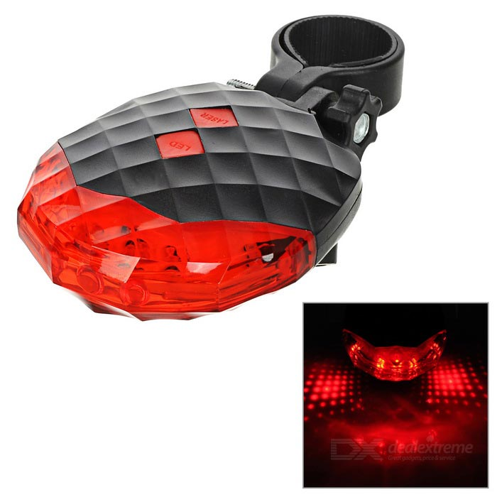 5-LED 7-Mode Red + 2-Laser Red Bike Safety Tail Light Lamp