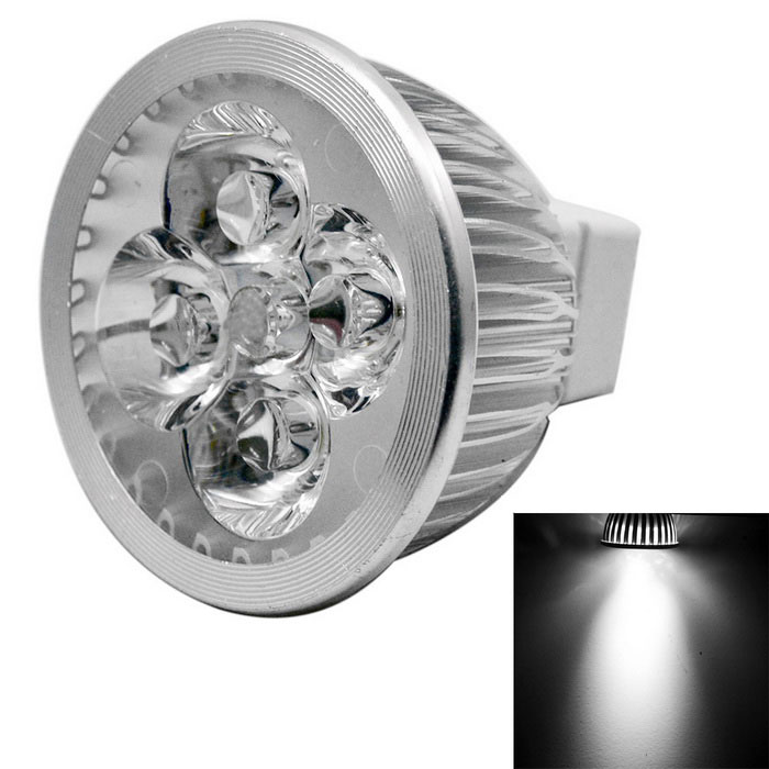 JIAWEN MR16 4W 4-LED Spotlight Cold White 400lm - Silver (DC 12V)