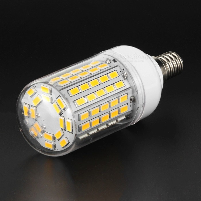 E14 9W Corn Light Lamp Bulb Warm White 3500K 1200lm 96-SMD 5730E14<br>Form  ColorWhite + Transparent + Multi-ColoredColor BINWarm WhiteMaterialPlastic + aluminumQuantity1 DX.PCM.Model.AttributeModel.UnitPower9WRated VoltageAC 220-240 DX.PCM.Model.AttributeModel.UnitConnector TypeE14Chip BrandOthers,N/AChip TypeLEDEmitter TypeOthers,5730 SMDTotal Emitters96Theoretical Lumens1800 DX.PCM.Model.AttributeModel.UnitActual Lumens1000~1200 DX.PCM.Model.AttributeModel.UnitColor Temperature12000K,Others,3000~3500KDimmableNoBeam Angle360 DX.PCM.Model.AttributeModel.UnitCertificationCE, RoHSPacking List1 x LED bulb<br>