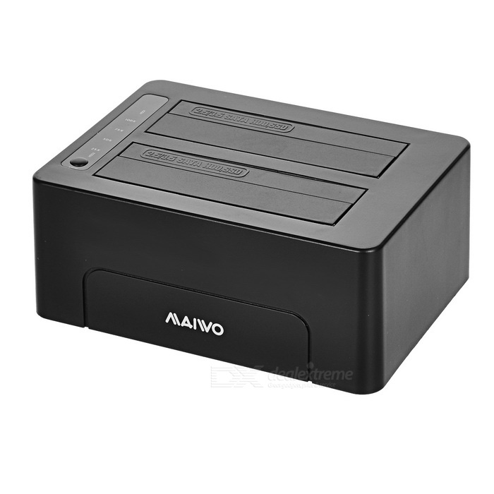 "Maiwo K3082 2-Slot 2.5""/ 3.5"" USB 3.0 SATA HDD Duplicator - Black"