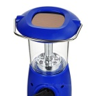 Solar Powered 6-LED 2-Mode Hand Crank Camping Lamp Lantern - Blue