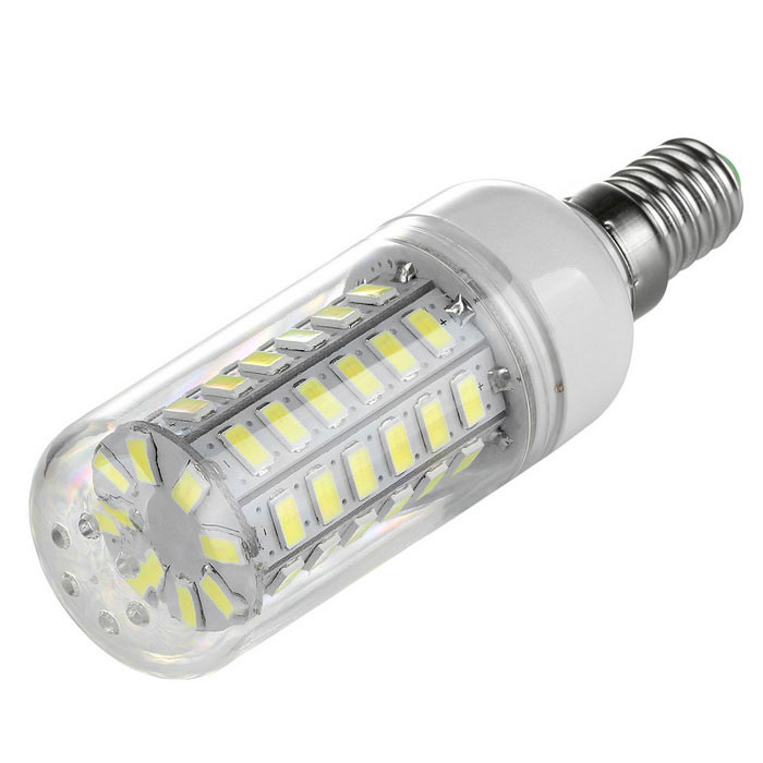 E14 5W 700lm 6500K 56-LED Cold White Light Corn Lamp Constant CurrentE14<br>Form  ColorWhiteColor BINCool WhiteMaterialABS Plastic + Aluminium alloyQuantity1 DX.PCM.Model.AttributeModel.UnitPower5WRated VoltageAC 220-240 DX.PCM.Model.AttributeModel.UnitConnector TypeE14Chip BrandOthers,N/AChip TypeN/AEmitter TypeOthers,5730 SMD LEDTotal Emitters56Theoretical Lumens700 DX.PCM.Model.AttributeModel.UnitActual Lumens700 DX.PCM.Model.AttributeModel.UnitColor Temperature6500KDimmableNoBeam Angle360 DX.PCM.Model.AttributeModel.UnitPacking List1 x Corn lamp<br>