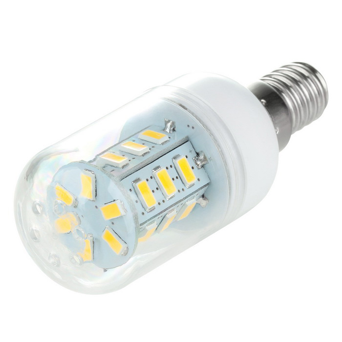 E14 2.5W LED Corn Lamp Warm White Light 3500K 24-SMD (AC 220~240V)E14<br>Form  ColorWhiteColor BINWarm WhiteMaterialABS + aluminum alloyQuantity1 DX.PCM.Model.AttributeModel.UnitPowerOthers,2.5WRated VoltageAC 220-240 DX.PCM.Model.AttributeModel.UnitConnector TypeE14Emitter TypeOthers,5730 SMD LEDTotal Emitters24Theoretical Lumens300 DX.PCM.Model.AttributeModel.UnitActual Lumens300 DX.PCM.Model.AttributeModel.UnitColor Temperature12000K,Others,3500KDimmableNoBeam Angle360 DX.PCM.Model.AttributeModel.UnitPacking List1 x Corn lamp<br>