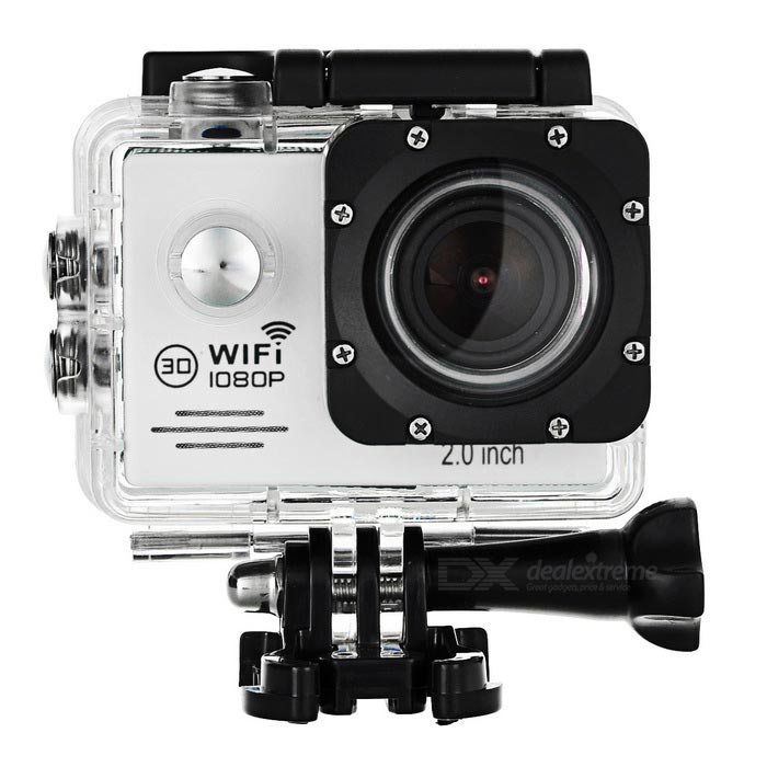 2.0 LTPS 12MP Wide Angle 1080P Sports Camera DV w/ Wi-Fi, TF - WhiteSport Cameras<br>Form  ColorWhite + BlackShade Of ColorWhiteMaterialTempered glass + ABSQuantity1 DX.PCM.Model.AttributeModel.UnitImage SensorCMOSImage Sensor SizeOthers,16:9Anti-ShakeYesFocal Distance0 DX.PCM.Model.AttributeModel.UnitFocusing Range0~infiniteWide Angle170 degreeEffective Pixels12MPImagesJPEGStill Image Resolution12M / 8M / 5MVideoMOVVideo Resolution1080p(1920 x 1080)30fps, 720P(1280 x 720)60 fps, VGA(848 x 480)60FPS, QVGA(640 x 480) 60FPSVideo Frame Rate30,60Cycle RecordYesISOOthers,100 / 200 / 400Exposure CompensationOthers,-2, -1.7, -1.3, -1, -0.7, -0.3, 0, +0.3, +0.7, +1, +1.3, +1.7, +2Supports Card TypeTFSupports Max. Capacity32 DX.PCM.Model.AttributeModel.UnitLCD ScreenYesScreen TypeOthers,LTPSScreen Size2.0 DX.PCM.Model.AttributeModel.UnitScreen Resolution960 x 240Battery Measured Capacity 900 DX.PCM.Model.AttributeModel.UnitNominal Capacity900 DX.PCM.Model.AttributeModel.UnitBattery included or notYesBattery Quantity1 DX.PCM.Model.AttributeModel.UnitVoltage3.7 DX.PCM.Model.AttributeModel.UnitWater ResistantWater Resistant 3 ATM or 30 m. Suitable for everyday use. Splash/rain resistant. Not suitable for showering, bathing, swimming, snorkelling, water related work and fishing.Supported LanguagesEnglish,Simplified Chinese,Traditional Chinese,Russian,Portuguese,Spanish,Italian,French,German,Others,JapanesePacking List1 x Camera1 x Waterproof case2 x Helmet holders1 x USB cable (80cm)4 x Cable ties1 x Cleaning cloth2 x Adhesive tapes1 x Buckle cord2 x Bandages2 x Velcro tapes1 x Bike holder1 x J-shaped base1 x GoPro adapter1 x Digital camera adapter3 x Adapters1 x Back clip1 x Clip mount1 x Chinese / English user manual<br>
