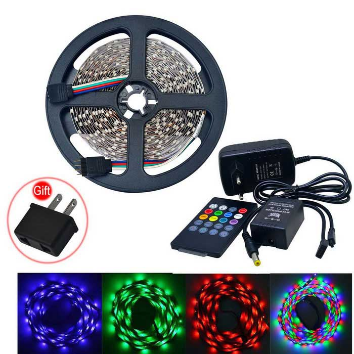 JIAWEN 25W LED Light Strip RGB 1800lm 300-SMD w/ Music Controller (5m)3528 SMD Strips<br>Form  ColorWhiteColor BINRGBMaterialCircuit boardQuantity1 DX.PCM.Model.AttributeModel.UnitPowerOthers,25WRated VoltageDC 12 DX.PCM.Model.AttributeModel.UnitEmitter Type3528 SMD LEDTotal Emitters300Wavelength700-635nm (Red); 560-490nm (Green); 490-450nm (Blue)Theoretical Lumens1600-1800 DX.PCM.Model.AttributeModel.UnitActual Lumens1600-1800 DX.PCM.Model.AttributeModel.UnitPower AdapterEU PlugPacking List1 x LED light strip (5m)1 x Music 2.0 LED controller (10±2cm-cable)1 x Remote control (built-in 1 x CR2025 battery)1 x EU plug  (AC110-240V,100cm-cable)1 x US Plug (Gift)<br>