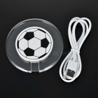 Luminous Football Style Qi Wireless Charger for IPHONE - Black + White