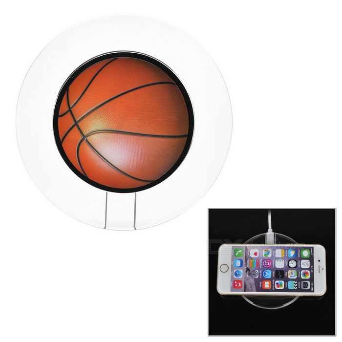 Luminous Basketball Style Qi Wireless Charger for IPHONE - Red + Black