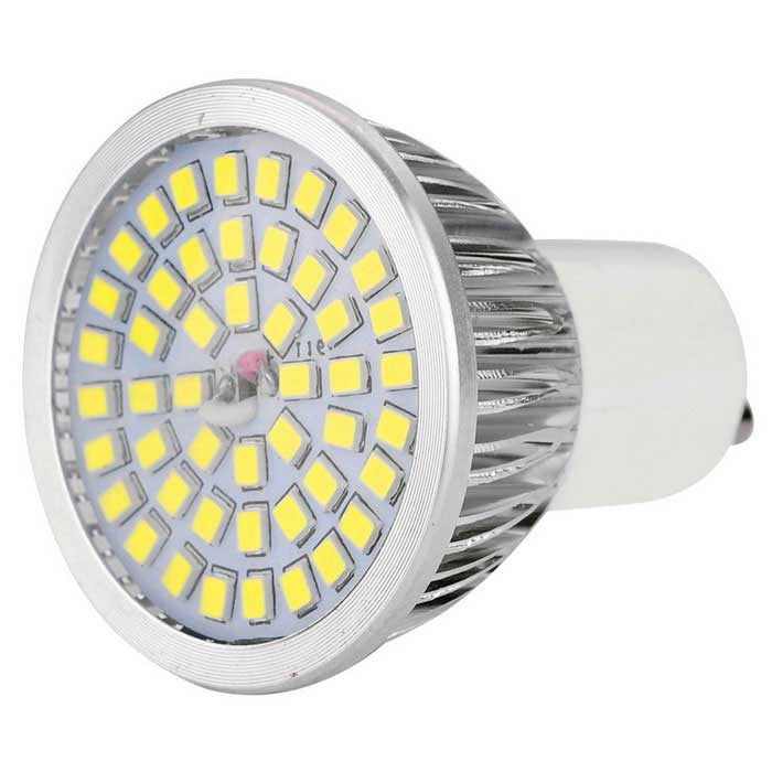 YWXLight GU10 7W LED Spotlight Bulb Cold White 640lm 48-SMD 2835GU10<br>Form  ColorSilver + MulticoloredColor BINCold WhiteMaterialPlastic + aluminum alloyQuantity1 piecePower7WRated VoltageAC 100-240 VConnector TypeGU10Theoretical Lumens840 lumensActual Lumens640 lumensEmitter TypeOthers,2835 SMDTotal Emitters48Color Temperature6000KDimmableNoBeam Angle180 °Packing List1 x LED bulb<br>