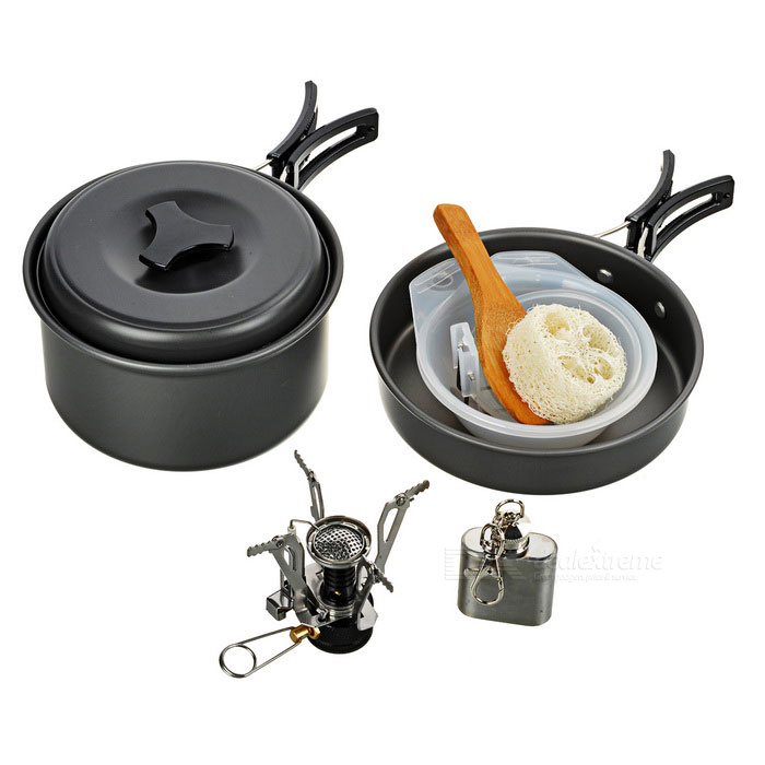 DS-200 Cooking Pot + Burner Stove + 1oz Flask Keychain Set - Black
