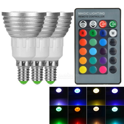 E14 3W Dimmable LED Spotlights RGB Light 80lm w/ Remote (3PCS)