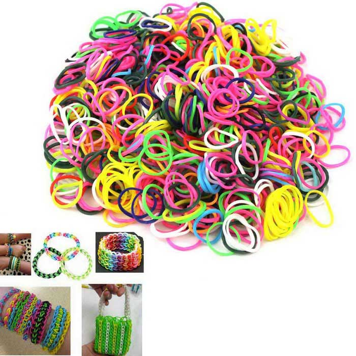 Rainbow DIY Rubber Band Weaving Bracelets - White + Red + Multicolor