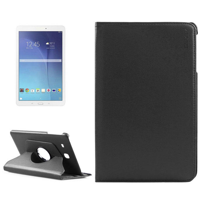 Buy ENKAY Rotation Protective Case for Samsung Galaxy Tab E9.6 - Black with Litecoins with Free Shipping on Gipsybee.com