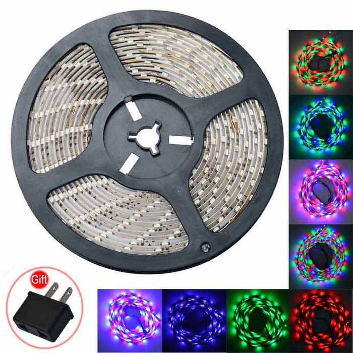 JIAWEN 35W LED Light Strip RGB 2400lm 300-SMD w/ Music Controller (5m)5050 SMD Strips<br>Form  ColorWhiteColor BINRGBMaterialCircuit boardQuantity1 DX.PCM.Model.AttributeModel.UnitPower35WRated VoltageDC 12 DX.PCM.Model.AttributeModel.UnitEmitter Type5050 SMD LEDTotal Emitters300Wavelength700-635nm (Red); 560-490nm (Green); 490-450nm (Blue)Theoretical Lumens2100-2400 DX.PCM.Model.AttributeModel.UnitActual Lumens2100~2400 DX.PCM.Model.AttributeModel.UnitPower AdapterEU PlugPacking List1 x LED light strip (5m)1 x Music 2.0 LED controller (10cm-cable)1 x Remote control (built-in 1 x CR2025 battery)1 x EU plug  (AC110-240V,100cm cable)1 x  US Plug (Gift)<br>