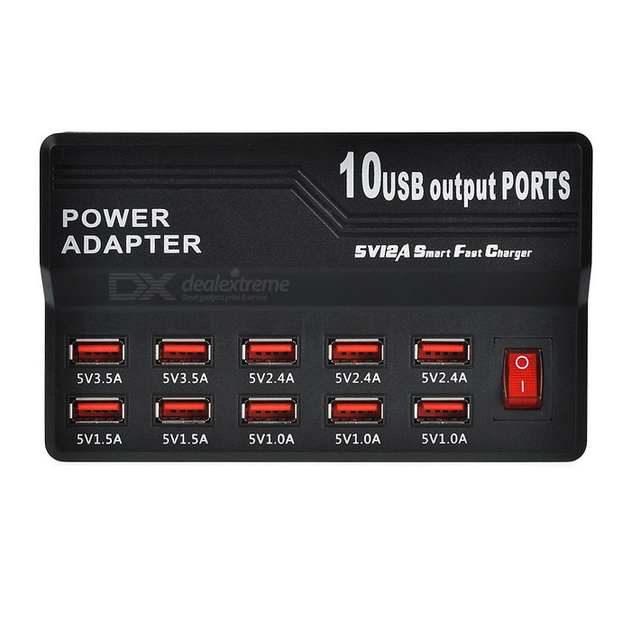 5V 12A USB 2.0 10-Port Quick Charging Smart Charger - Black (US Plugs)