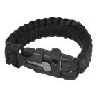 Outdoor Sports 7-Core Parachute Cord Bracelet w/ Whistle / Flint / Saw Cutter – Black