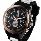 HPOLW FS-595 Sports Waterproof Watch for Men - Black + Rosy Brown