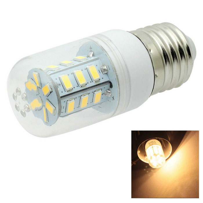 HONSCO E27 4W LED Clear Cover Corn Bulb Light Warm White 3000K 24-SMD