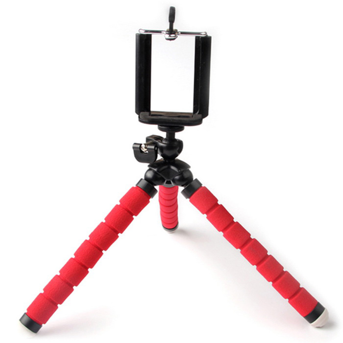Octopus Style Tripod w/ Mount Holder Clip for Cameras, Phones - RedTripods and Holders<br>Form ColorRedMaterialABS + spongeQuantity1 DX.PCM.Model.AttributeModel.UnitTypeTripodRetractableYesFull Size 23 DX.PCM.Model.AttributeModel.UnitRing Diameter6cm (not stretched)Max.Load300 DX.PCM.Model.AttributeModel.UnitSection Number3Packing List1 x Tripod<br>