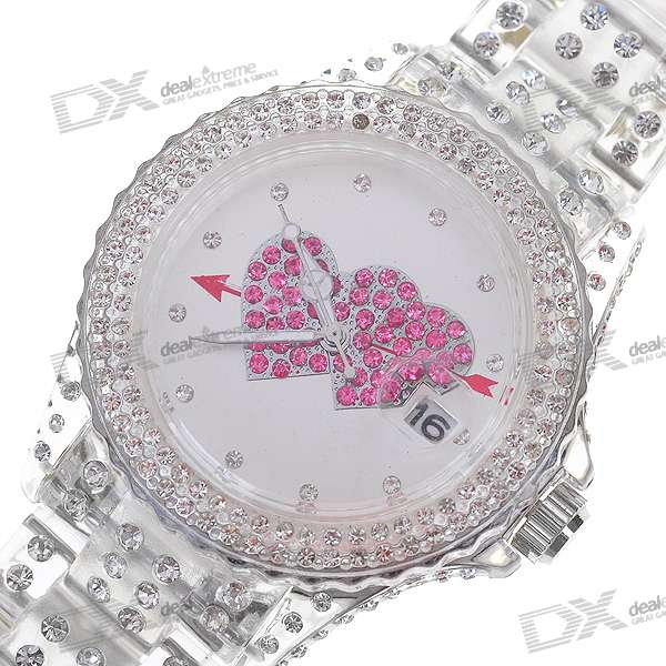 Silver PVC Cute Shiny Crystal Wrist Watch - Red Hearts (1*377S)
