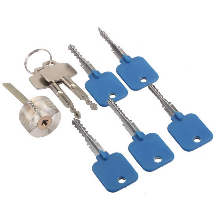 Locksmith Training Practice Lock + Keys Lock Pick Set - Blue + Silver