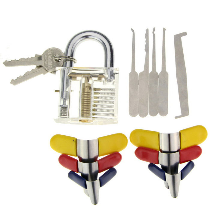 Practice Padlock + Single Hook Pick Tool + Padlock Shims SetLocksmith Supplies<br>ModelN/AQuantity1 DX.PCM.Model.AttributeModel.UnitForm  ColorOthers,Transparent + silver + multicolorMaterialABS + stainless steelPacking List1 x Lock(with 2 keys)1 x Set of single hook pick (5PCS)6 x Padlock shims<br>