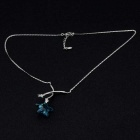 Blue Star Crystal Inlaid Pendant Necklace - Silver
