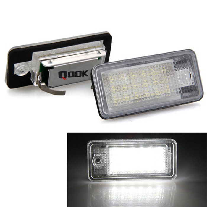 Buy Qook White 18-LED License Plate Light for AUDI A3/S3 A4/S4 B6 (2PCS) with Litecoins with Free Shipping on Gipsybee.com