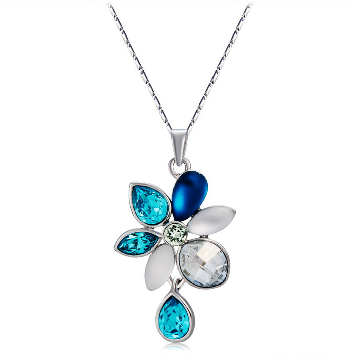 Water Lotus Hanging Drop Crystals Inlaid Necklace - Silver + Blue