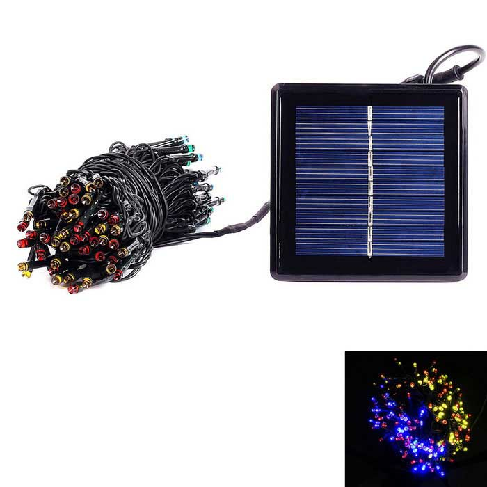 1800mAh Solar Powered Colorful LED String Light w/ USB Cable - Black