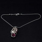 Creative Circles Purple Crystal Pendant Necklace for Women - Silver