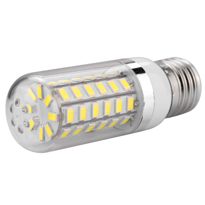 E27 11W 56x5730SMD 920lm Cold White Light LED Corn Bulb - White+Yellow