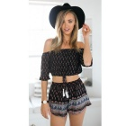 Women's Fashion Printed Beateau Top Casual Knitting Suit - Black (M)