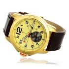 CURREN Men's PU Band Quartz Analog Watch - Golden + Brown (1*626)