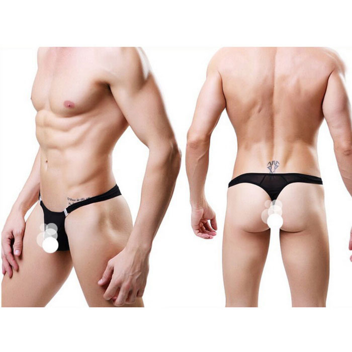 Buy Sexy Thin Breathable Elastic Men's Thong Briefs Underwear - Black with Litecoins with Free Shipping on Gipsybee.com
