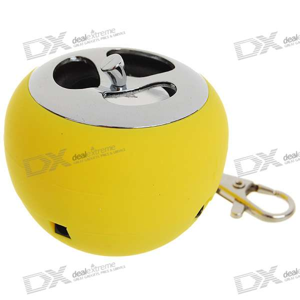 USB Rechargeable Apple Shaped LED Mini Speaker Keychain - Yellow (3.5mm/DC 5V)