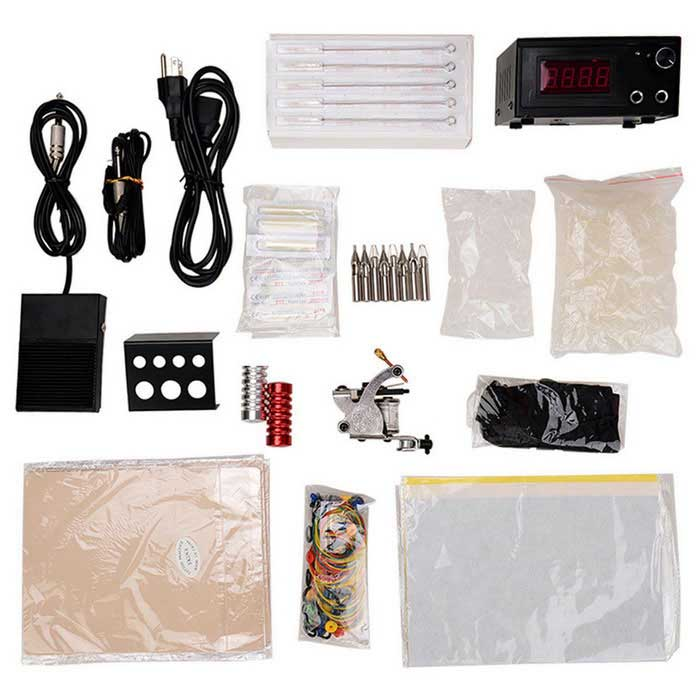 T01 Professional Tattoo Machine + Accessories Bag Kit - Multicolored