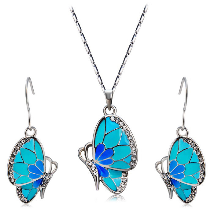 Womens-Crystal-Blue-Butterfly-Inlaid-Alloy-Necklace-Silver