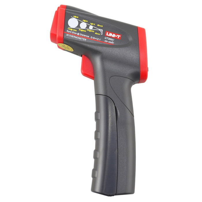 UNI-T UT300C Infrared ThermometersTesters &amp; Detectors<br>Form  ColorRed + GreyModelUT300CQuantity1 DX.PCM.Model.AttributeModel.UnitMaterialABSScreen Size1.22 DX.PCM.Model.AttributeModel.UnitPowered ByOthers,9V battery (6F22)Battery Number1Battery included or notYesOther FeaturesFeatures<br>°C/°F Selection<br>Laser Switch<br>Display Hold (s)8 Seconds<br>Data Hold<br>Auto Power Off<br>Low Battery Indication<br>MAX Mode<br>MIN Mode<br>High Alarm<br>Low Alarm<br>LCD BacklightCertificationCEPacking List1 x Host1 x 9V battery (6F22)1 x English manual<br>